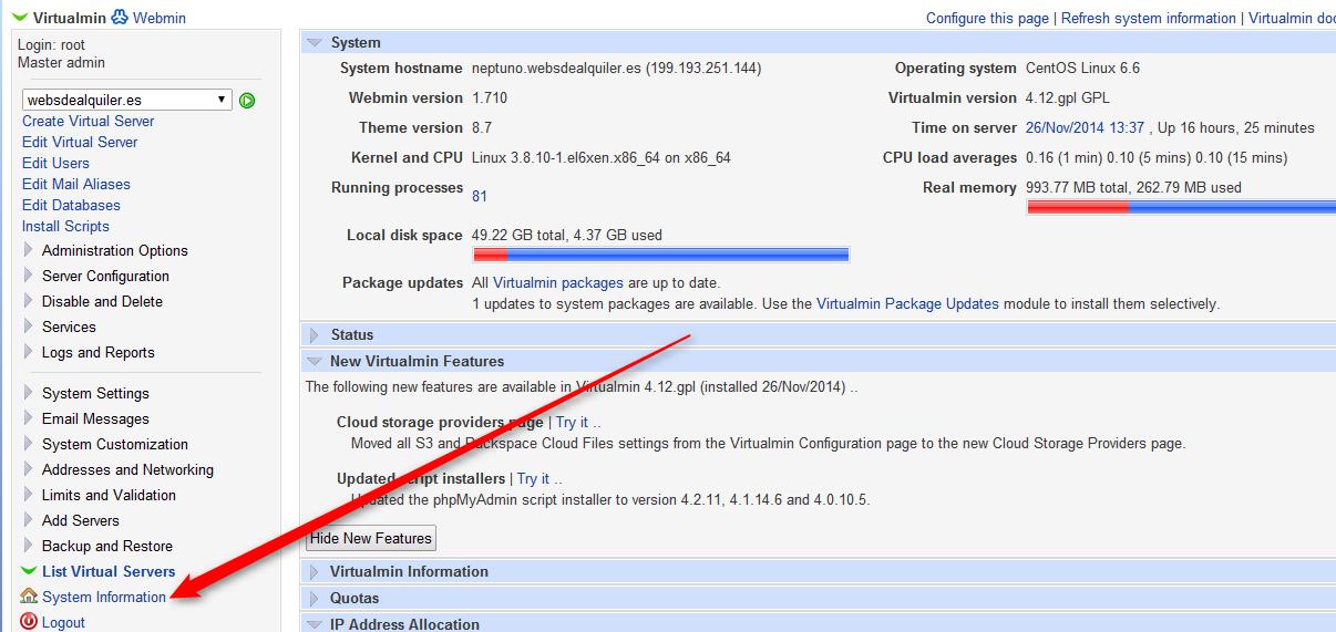 Virtualmin_Informacion_sistema
