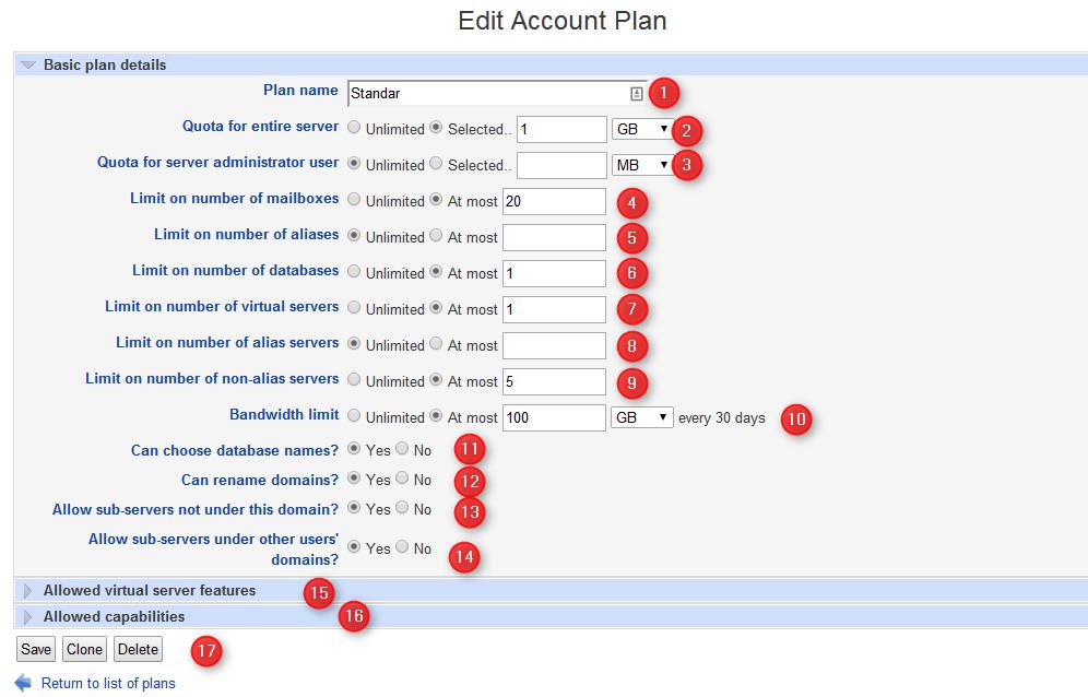 Virtualmin crear nuevo plan