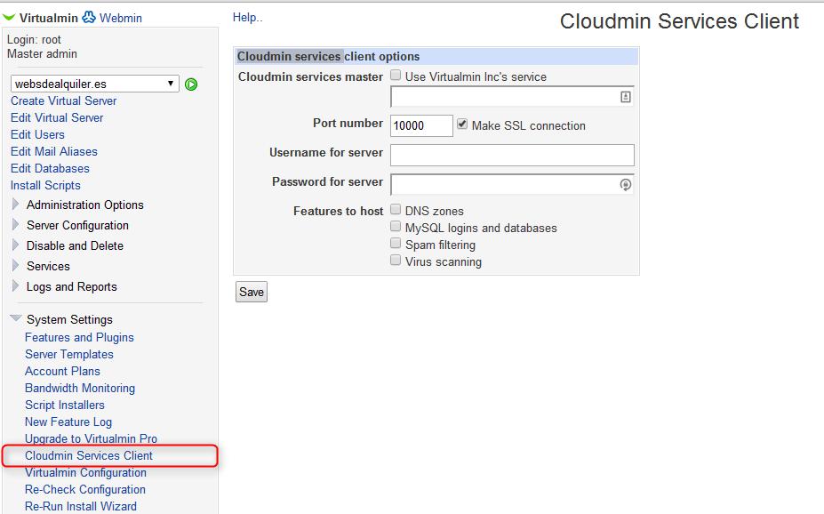 Virtualmin - Cloudmin