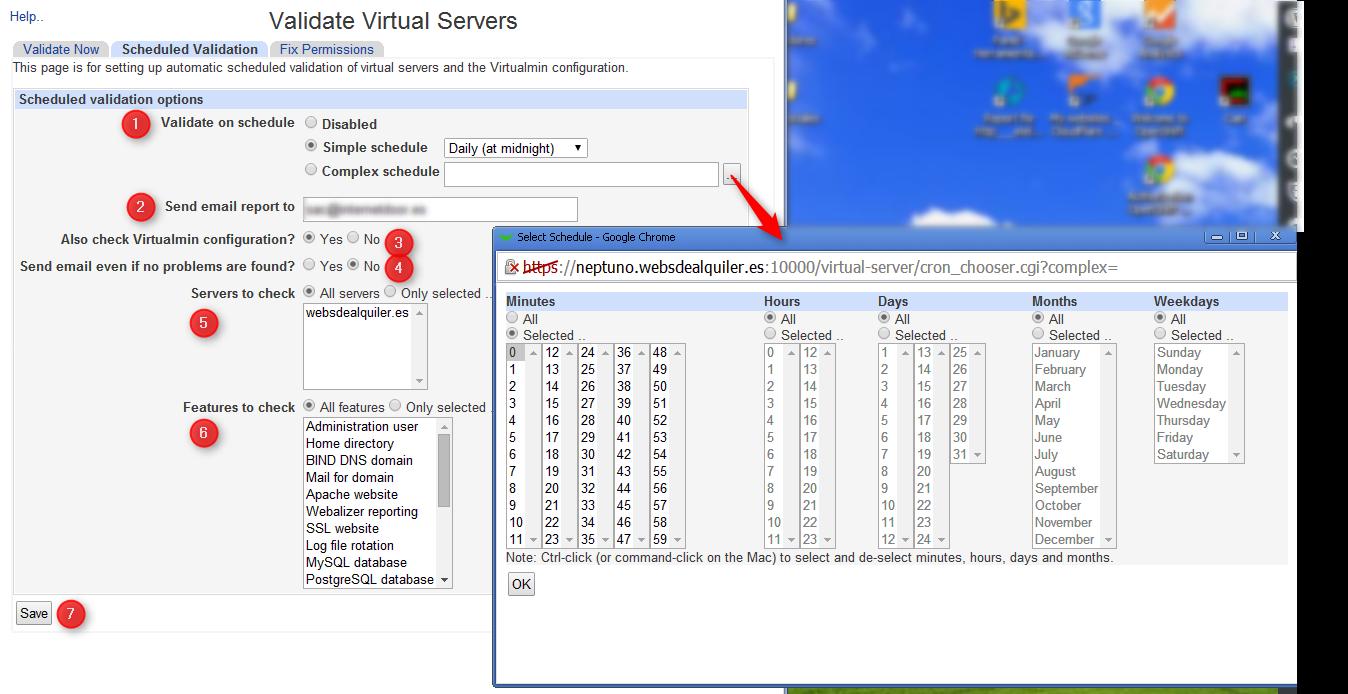 Virtualmin Validate schedule