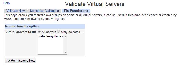 Virtualmin - Fix Permission