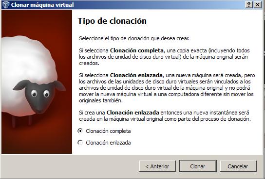 VirtualBox-tipo de clonacion