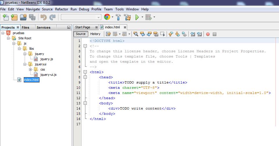 Estructura de un proyecto HTML5 con js, en netbeans