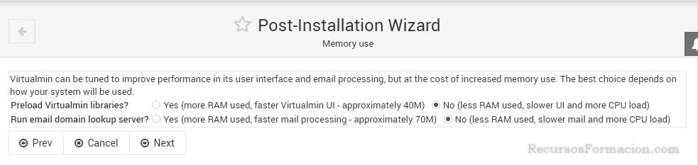 Post installation wizard-Virtualmin-memory