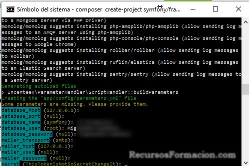 Symfony parametros base de datos
